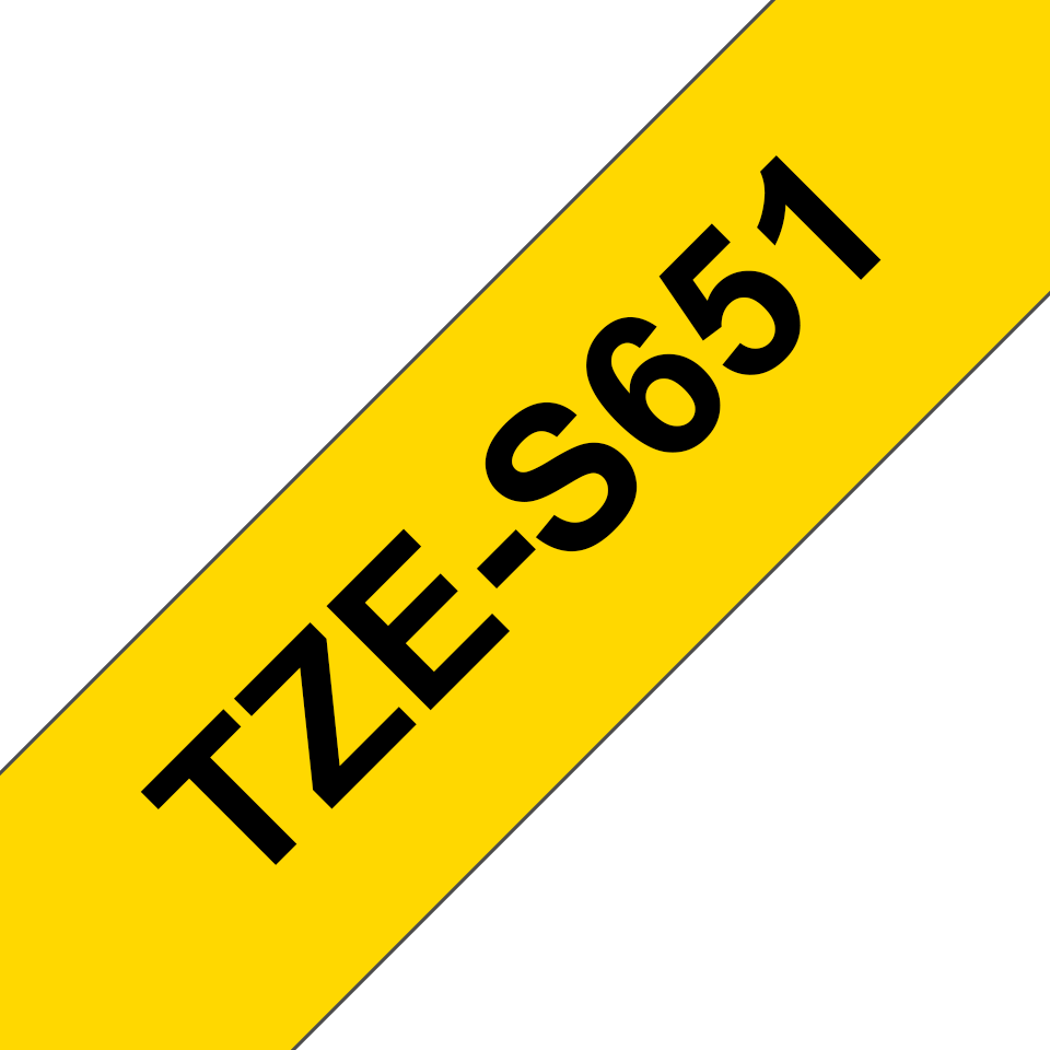 Genuine Brother TZE-S651 Labelling Tape Cassette – Black on Yellow Strong Adhesive, 24mm wide 3