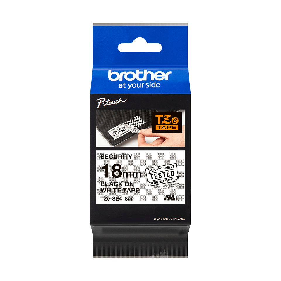 Genuine Brother TZe-SE4 Labelling Tape Cassette – Black on White, 18mm wide 1