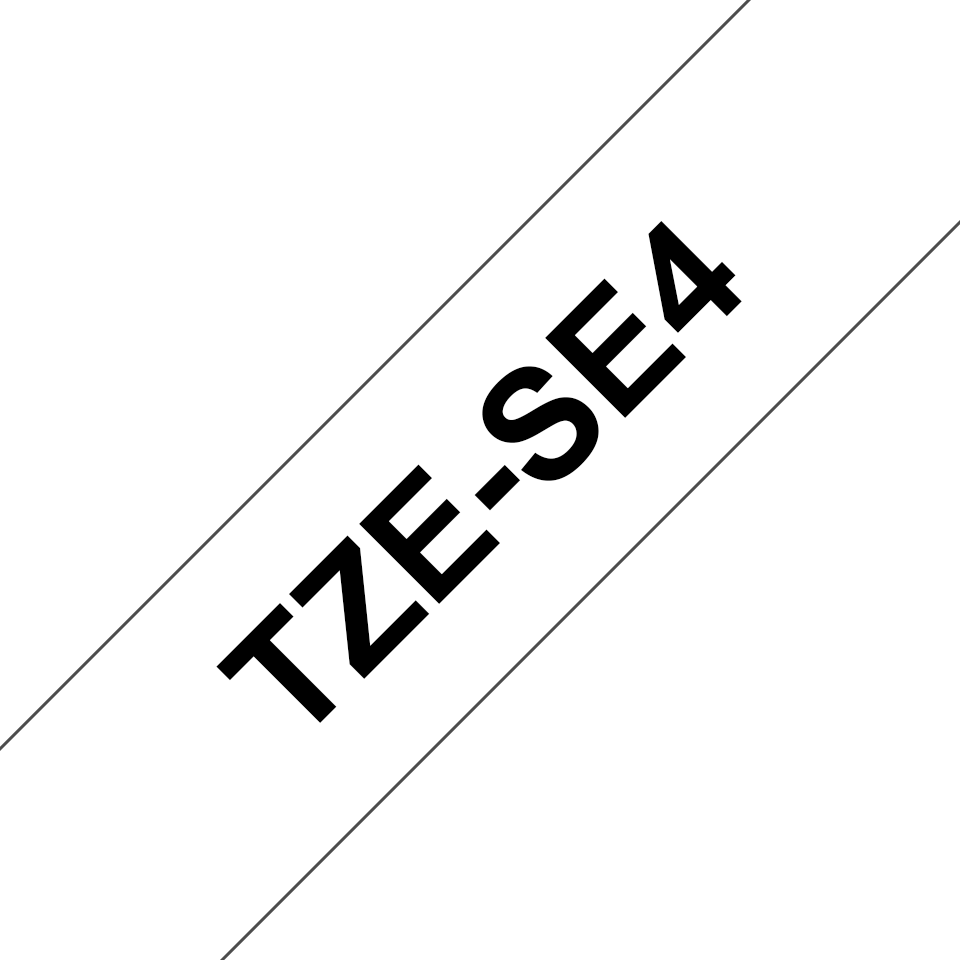 Genuine Brother TZe-SE4 Labelling Tape Cassette – Black on White, 18mm wide